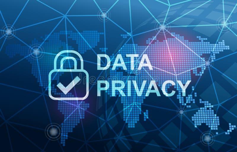 Fundo da conformidade da proteção de privacidade dos dados ilustração stock
