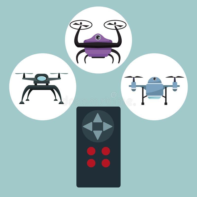 Fundo da cor com ícones ajustados do quadro circular dos quadrocopters e zangões com controlo a distância do close up com botões ilustração do vetor