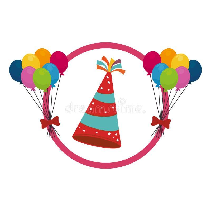 Fundo da cor com chapéu e balões do partido ilustração royalty free