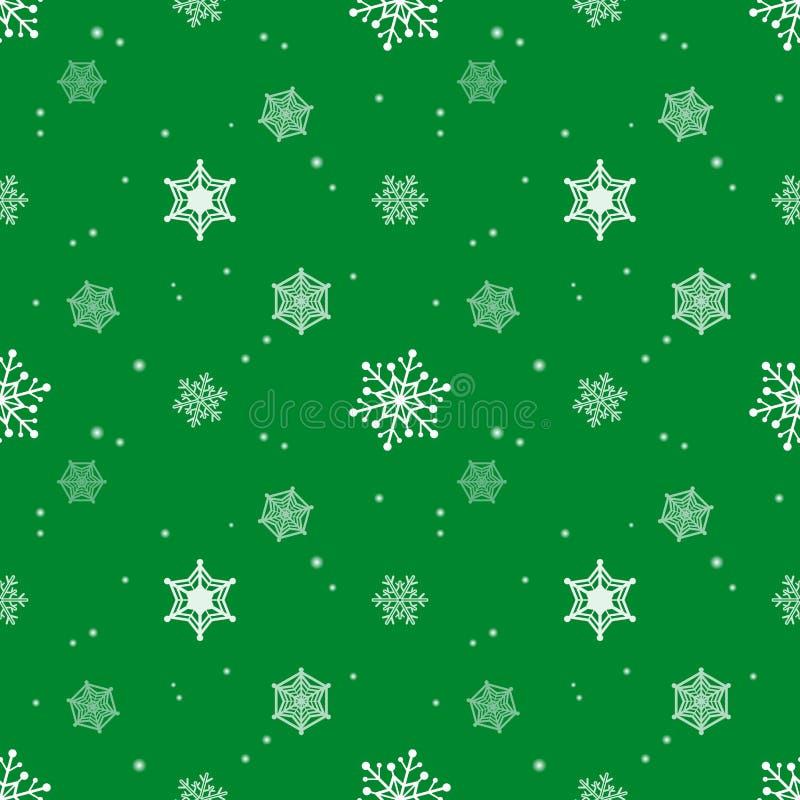 Fundo da cor verde da camada do matiz do teste padrão do floco de neve ilustração royalty free