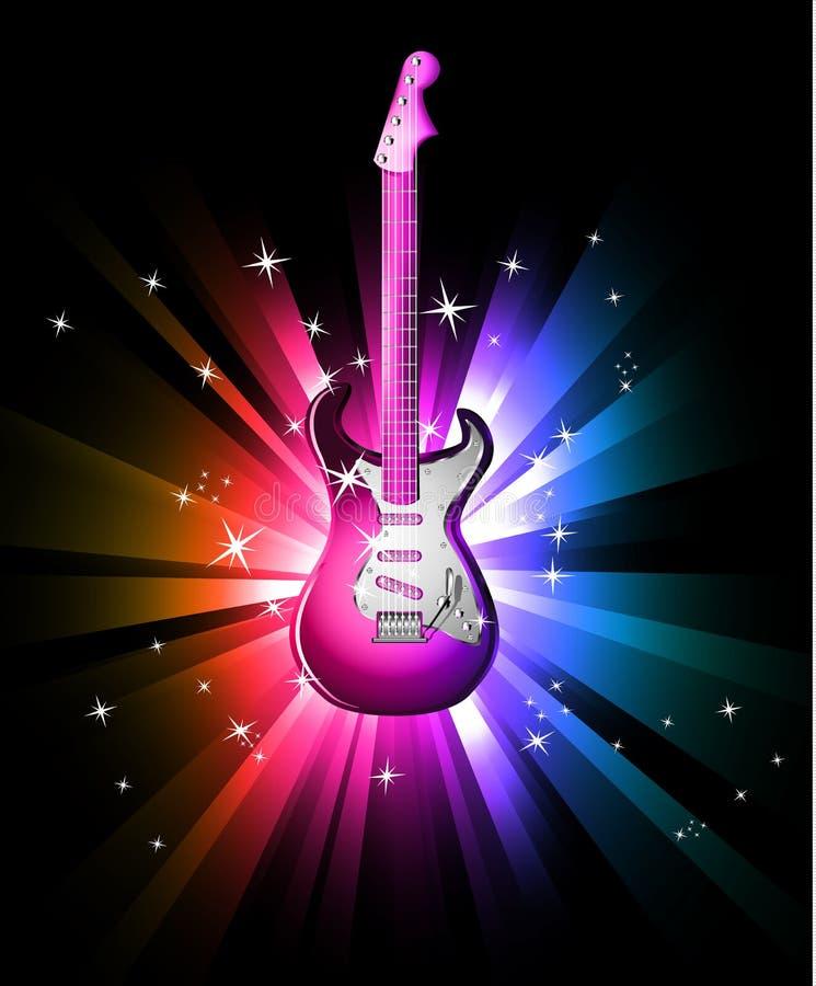 Fundo da dança do disco com guitarra elétrica ilustração stock