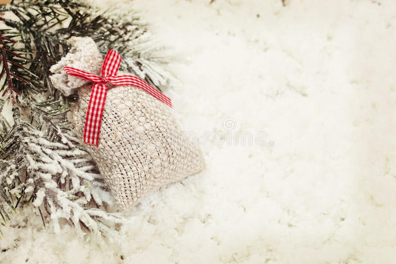 Fundo da decoração do saco do presente do Natal do vintage imagens de stock royalty free