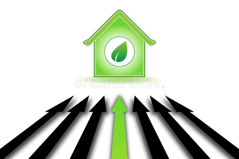 Fundo da ecologia com setas e a casa verde ilustração do vetor