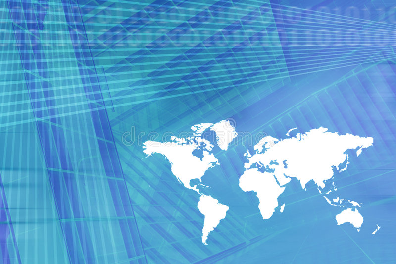 Fundo da economia de Digitas do mapa de mundo ilustração do vetor
