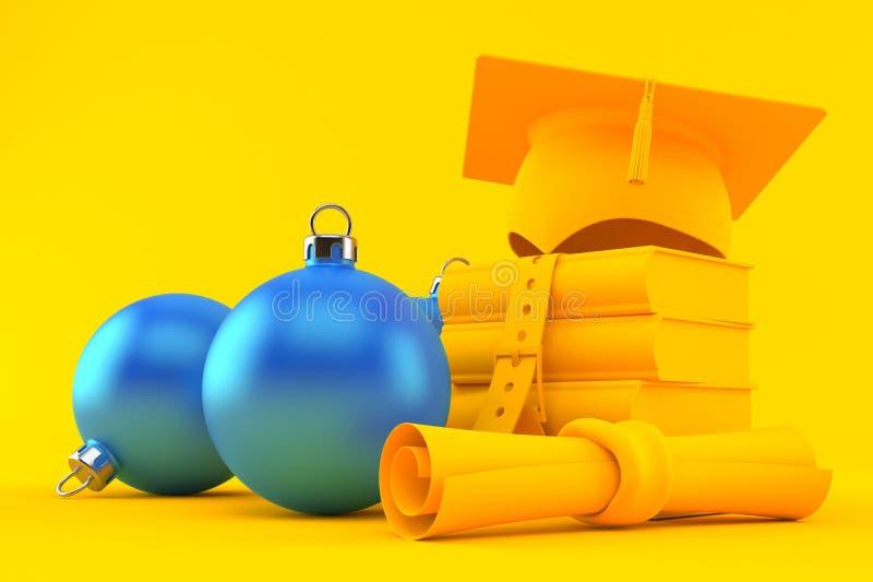 Fundo da educação com ornamento do Natal ilustração royalty free