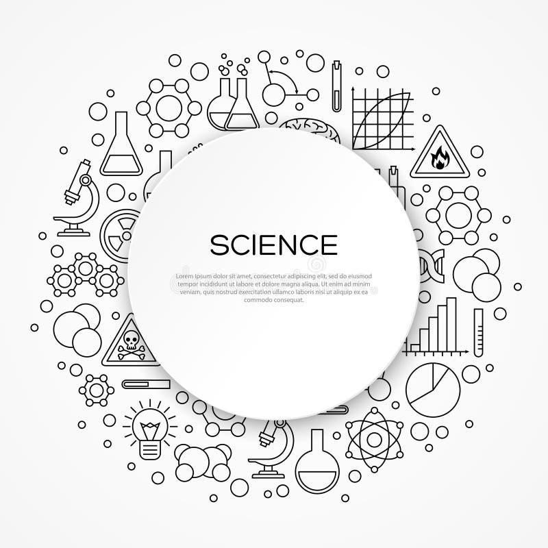 Fundo da educação da ciência com quadro redondo ilustração stock