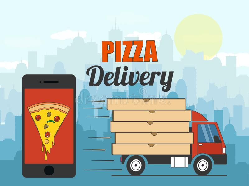 Fundo da entrega da pizza Ilustração do vetor ilustração stock