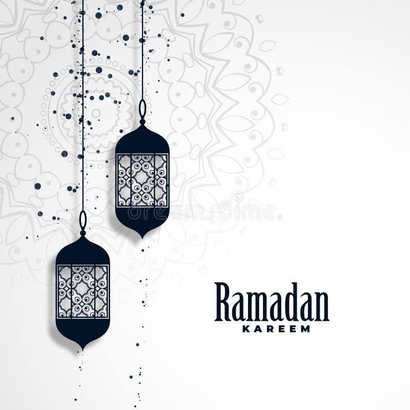 Fundo da estação do kareem da ramadã com lâmpadas de suspensão ilustração royalty free