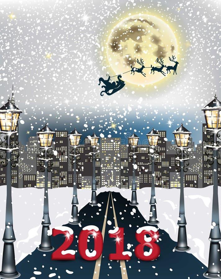 fundo da estrada da arquitetura da cidade de 2018 cartões Vetor nevado da decoração da noite do inverno ilustração stock