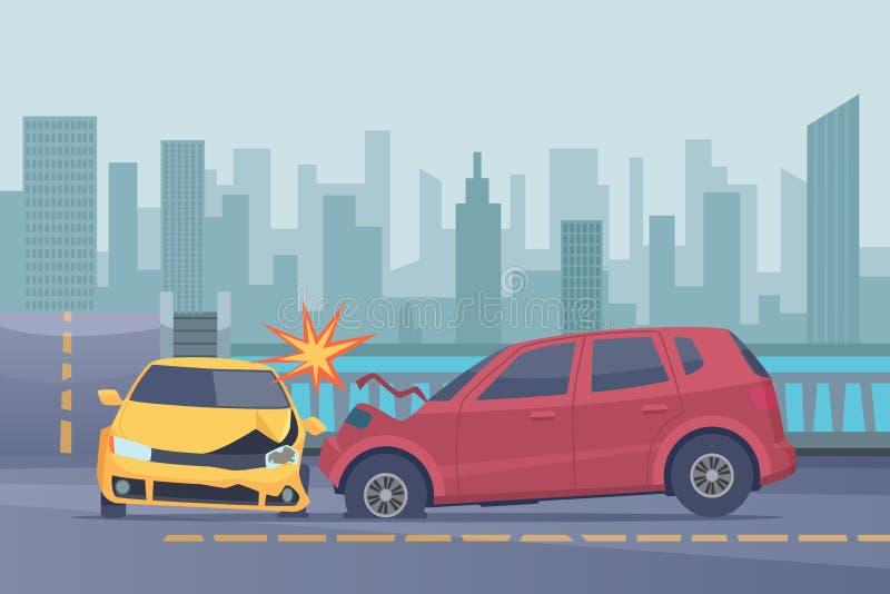 Fundo da estrada do acidente Carros spped danificados em imagens quebradas do vetor do transporte da ajuda urbana da emergência d ilustração royalty free