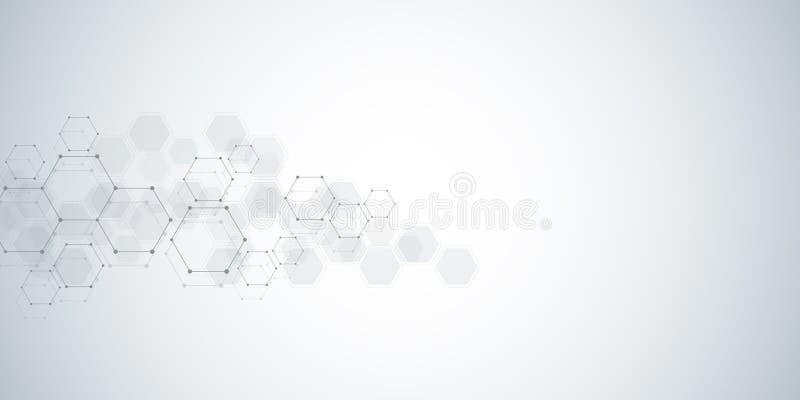 Fundo da estrutura molecular Fundo abstrato com ADN da molécula Forma geométrica com hexágonos ilustração do vetor
