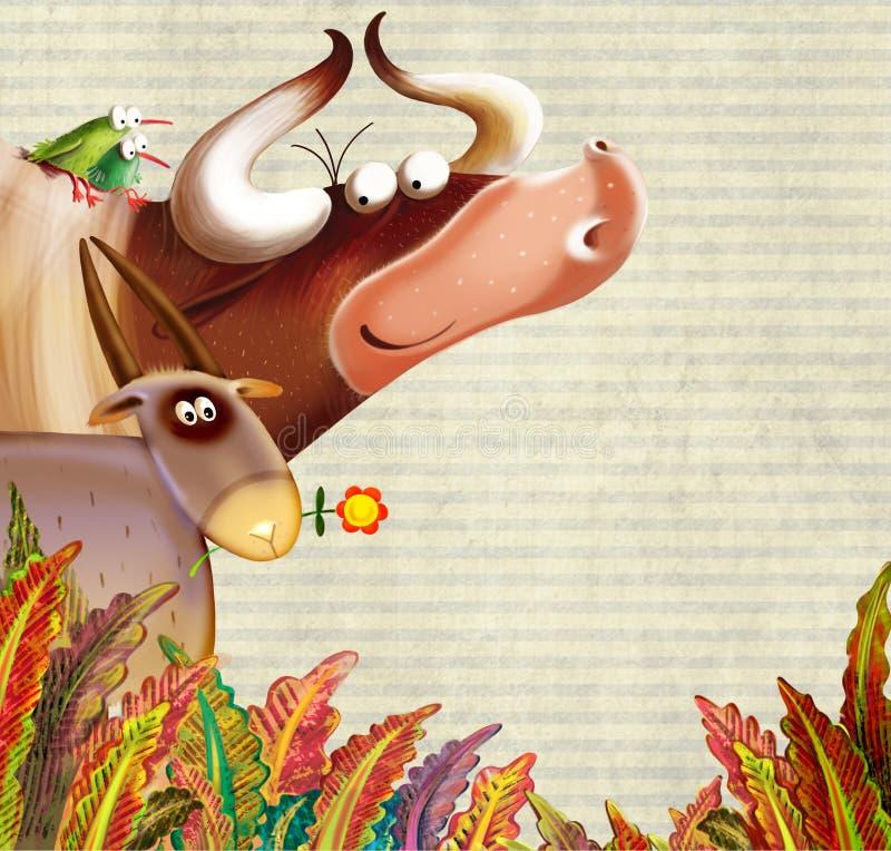 Fundo Da Exploração Agrícola Com Animais Fotografia de Stock Royalty Free