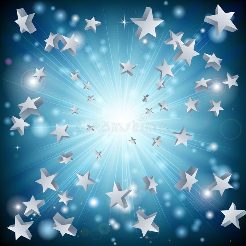 Fundo da explosão da estrela azul ilustração do vetor