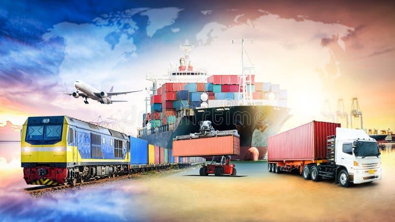 Fundo da exportação da importação da logística de negócio global fotografia de stock royalty free