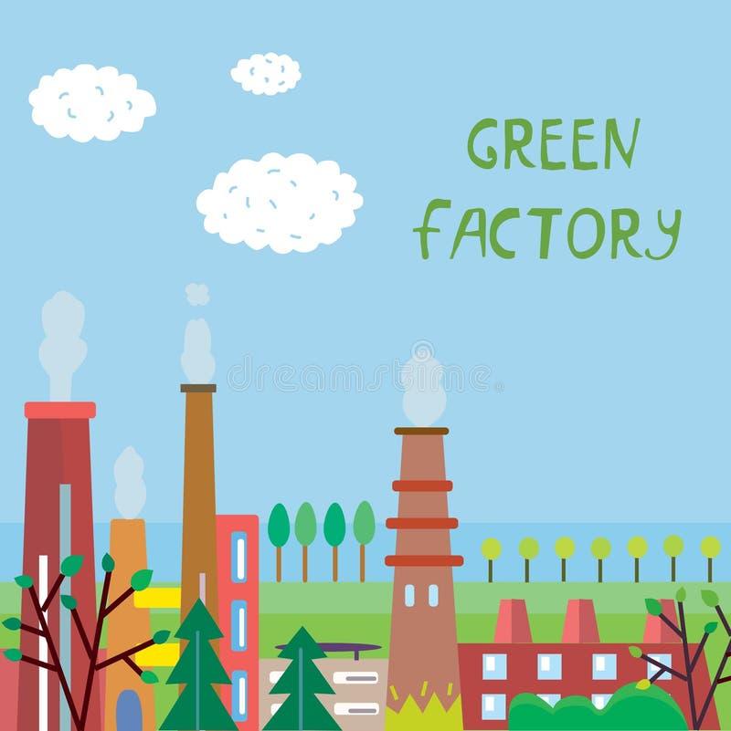 Fundo da fábrica de Eco com planta e árvores ilustração do vetor