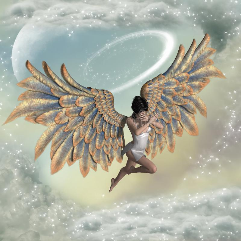 Fundo da fantasia com anjo ilustração do vetor