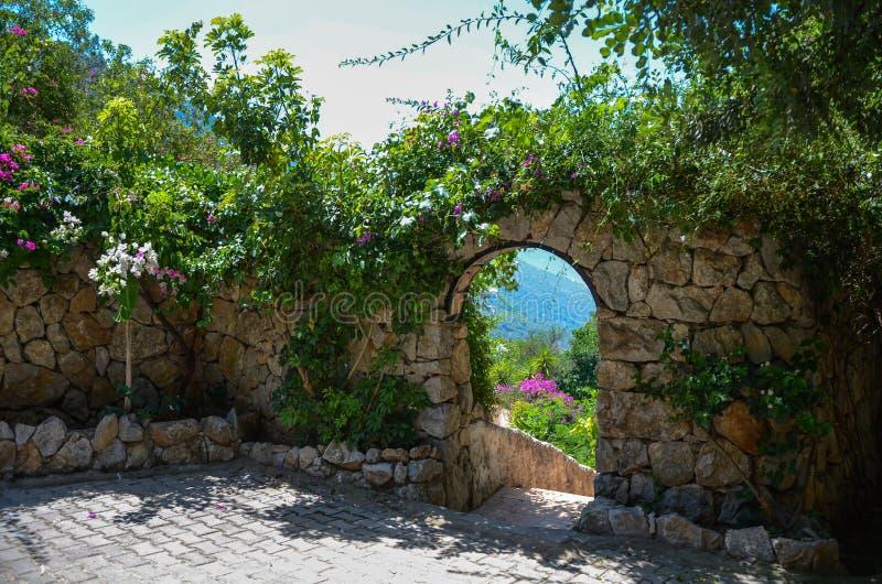 Fundo da fantasia Jardim mágico com estrada La bonito da mola foto de stock