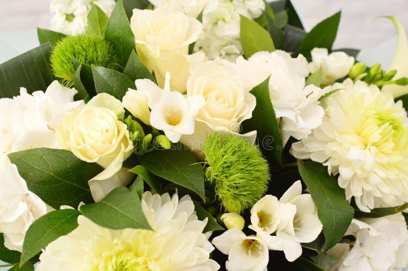 Fundo da flor branca de flores coloridas fotografia de stock royalty free