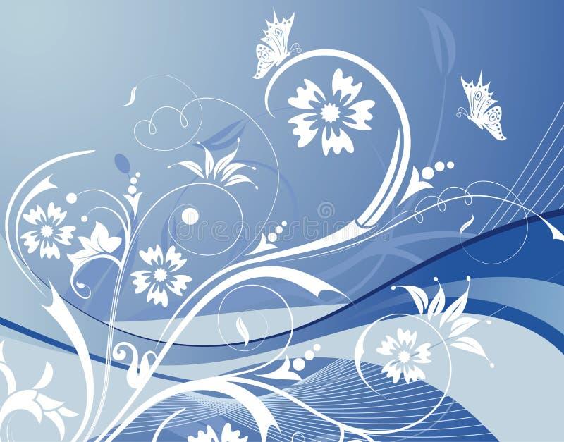 Fundo da flor com butterf ilustração stock