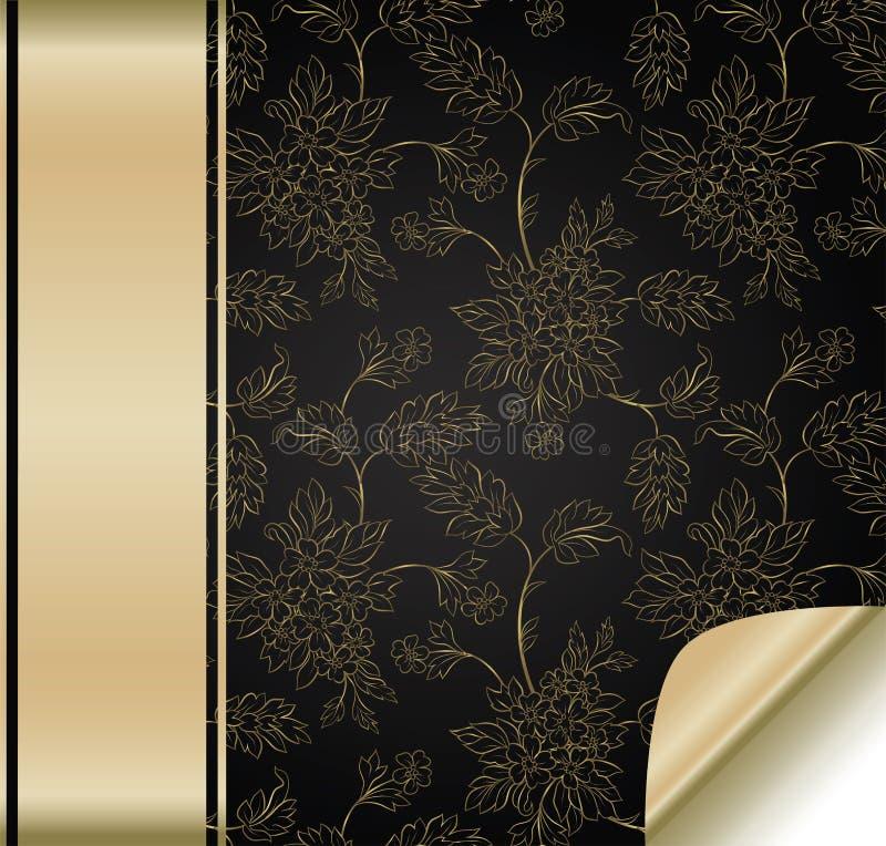Fundo da flor com faixa dourada ilustração stock