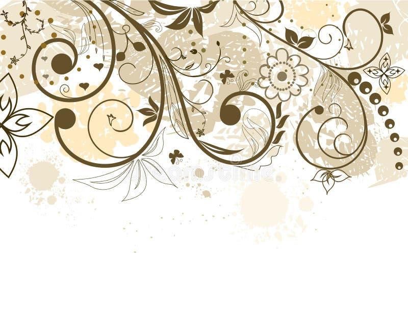 Fundo da flor de Grunge com borboleta ilustração stock