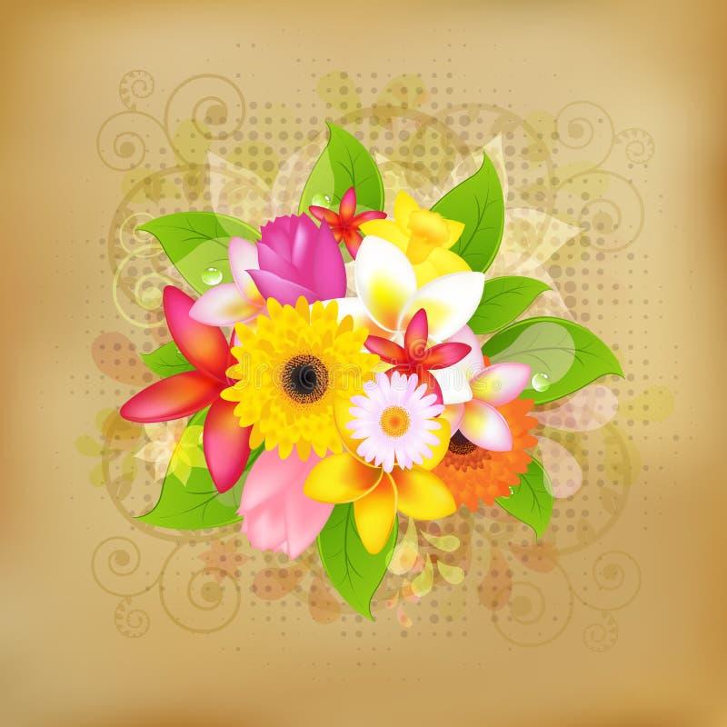 Fundo da flor no papel velho ilustração royalty free