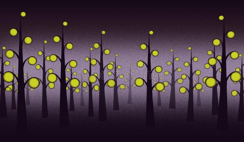 Fundo da floresta da noite imagem de stock