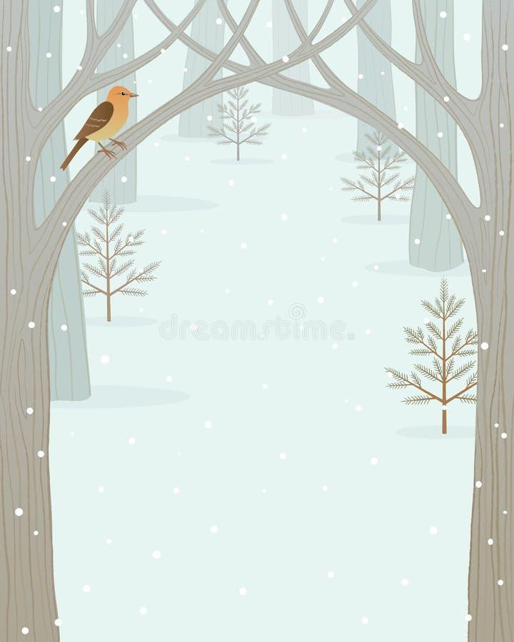 Fundo da floresta do inverno ilustração royalty free