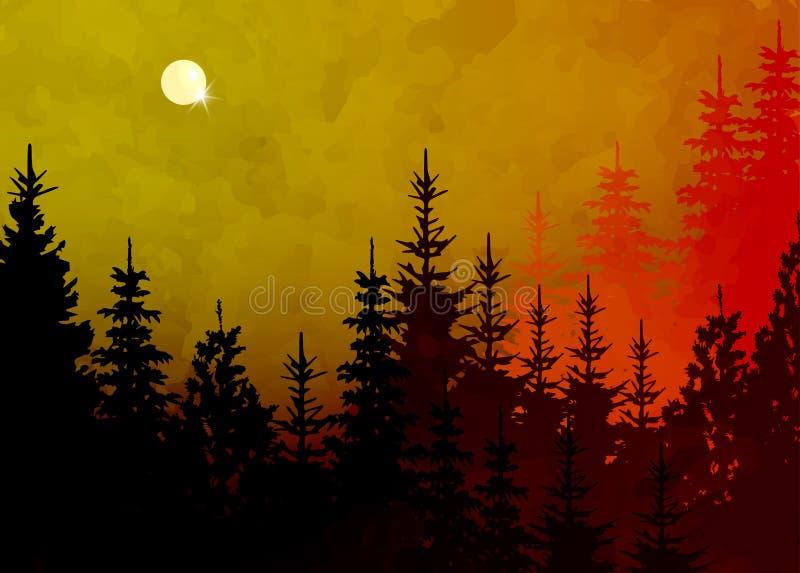 Fundo da floresta do inverno, paisagem da montanha do vetor Abetos da árvore de Natal com Lua cheia e o céu cor-de-rosa Estilo da ilustração do vetor