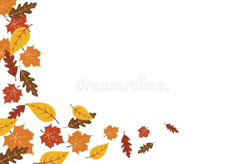 Fundo da folha de bordo das folhas de outono Ilustração do vetor do fundo do outono ilustração stock