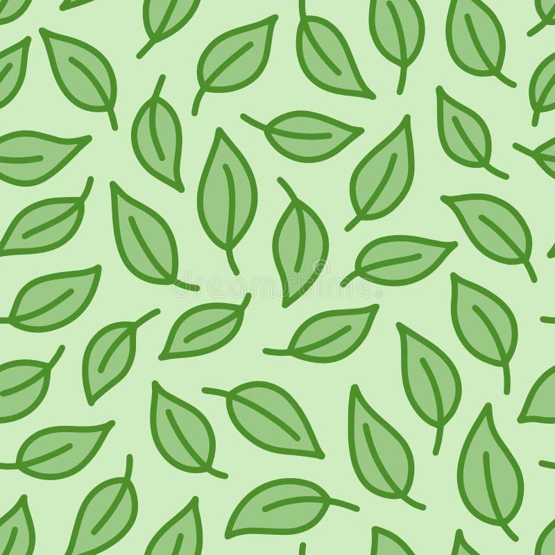 Fundo da folha O verde coloriu o teste padrão sem emenda com as folhas na linha mínima estilo da garatuja Pacote decorativo da re ilustração stock