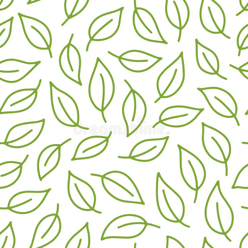 Fundo da folha Teste padrão sem emenda verde, branco com as folhas na linha mínima estilo da garatuja Pacote decorativo da repeti ilustração do vetor