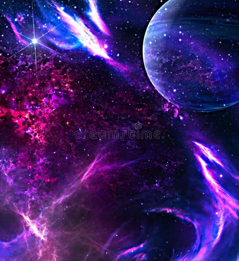 Fundo Da Galáxia Com Planeta Ilustração Stock