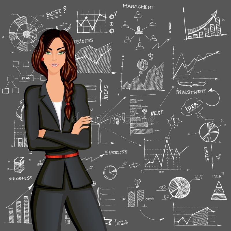 Fundo da garatuja da mulher de negócio ilustração royalty free