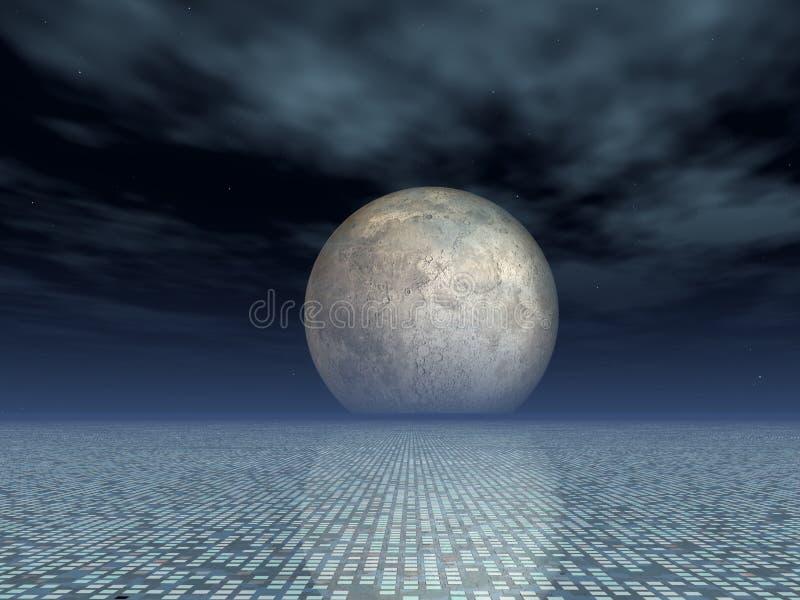 Fundo da grade da matriz com Lua cheia ilustração do vetor