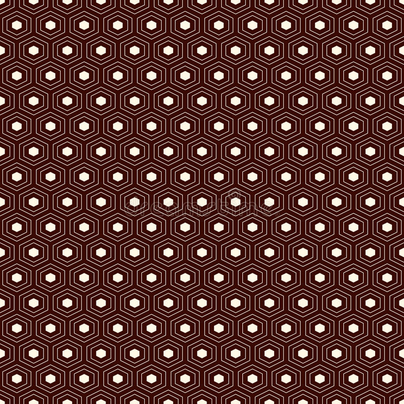 Fundo da grade do favo de mel Papel de parede repetido esboço do hexágono Teste padrão de superfície sem emenda com o ornamento g ilustração do vetor