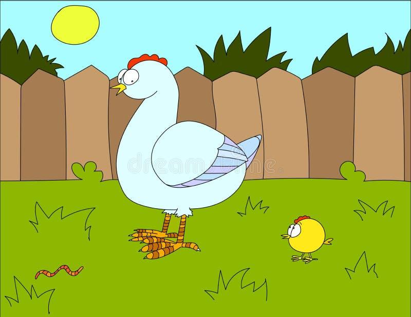 Fundo da ilustração colorida de uma galinha ilustração royalty free