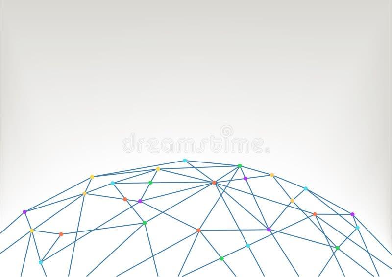 Fundo da ilustração do mapa do mundo com os polígono e as linhas que conectam povos, dispositivos, cidades, objetos ilustração royalty free