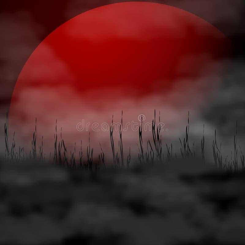 Fundo da ilustração do vetor de Dia das Bruxas - lua e névoa da ascendência pura ilustração royalty free