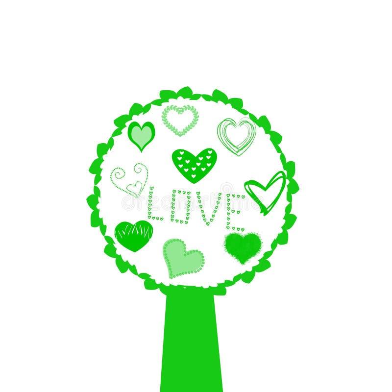 Fundo da ilustração dos corações da árvore de amor ilustração stock
