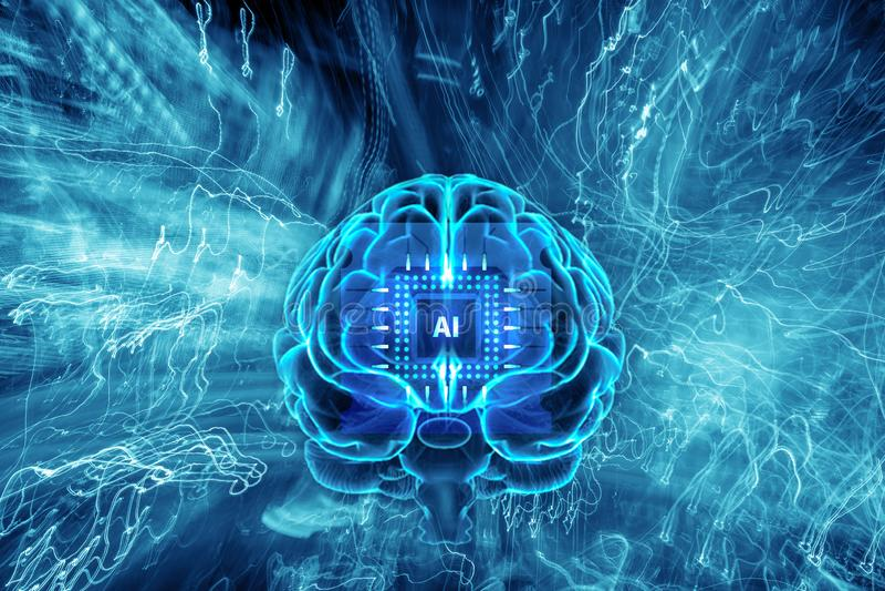 Fundo da inteligência artificial Cérebro humano com o chip de computador do AI com fuga clara, conceito virtual, sumário futurist ilustração stock