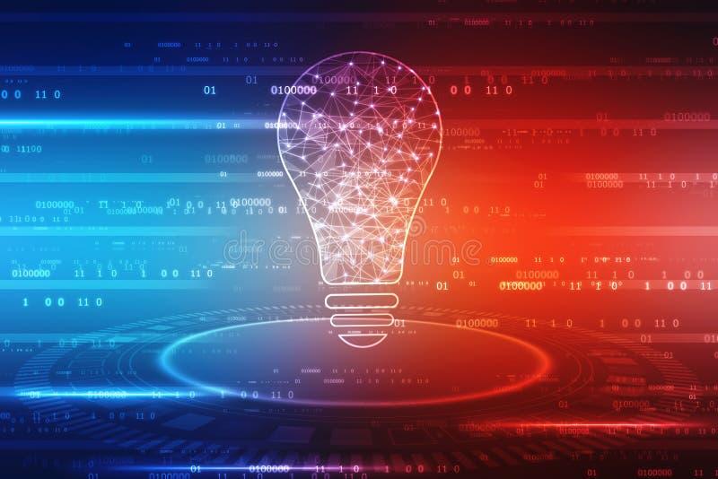 Fundo da inteligência artificial, tecnologia do futuro do bulbo, fundo da inovação, ilustração do vetor