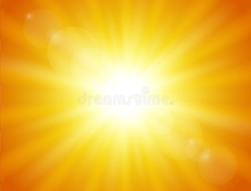 Fundo da laranja da natureza Sol de brilho Ilustração do vetor ilustração do vetor