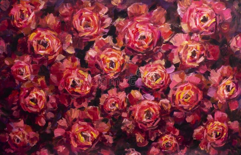 Fundo da lona da flor da pintura - flor do close-up da pintura a óleo Macro cor-de-rosa do close up da peônia das flores violetas imagens de stock