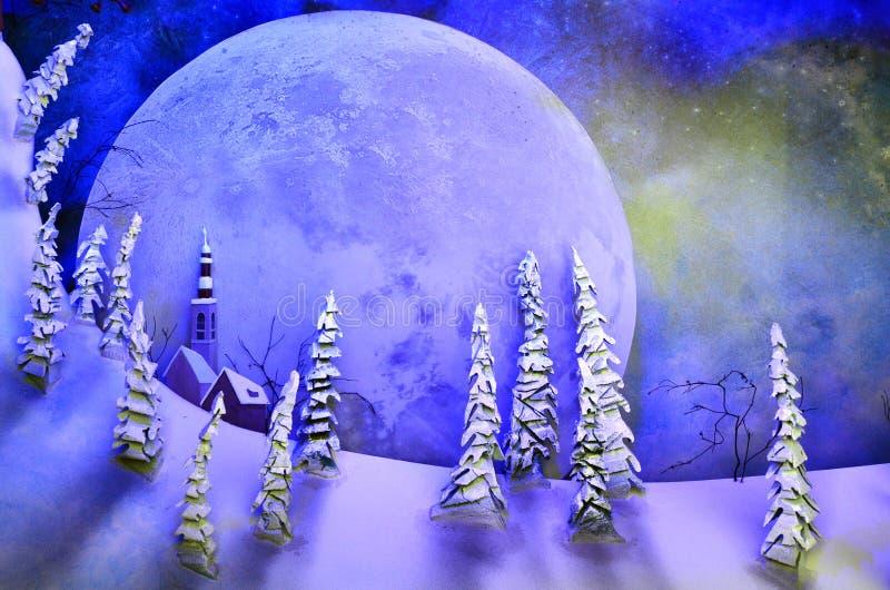 Fundo da Lua cheia que aumenta sobre a paisagem da fantasia imagem de stock