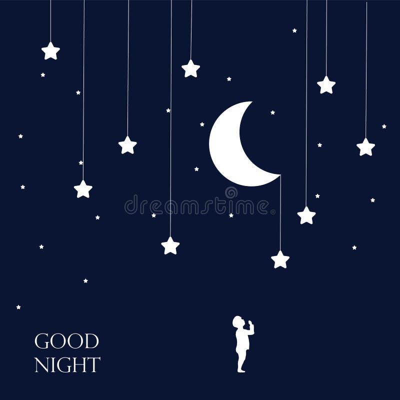 Fundo da lua e das estrelas Boa noite imagens de stock