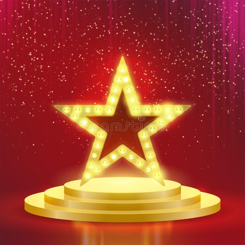 Fundo da luz vermelha do vetor das lâmpadas do pódio da estrela ilustração do vetor