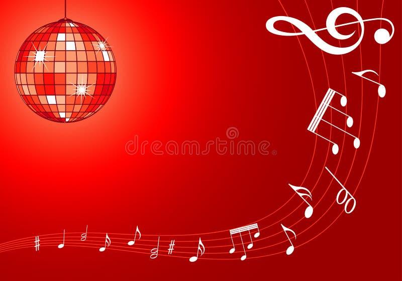 Fundo da música com discoball ilustração stock