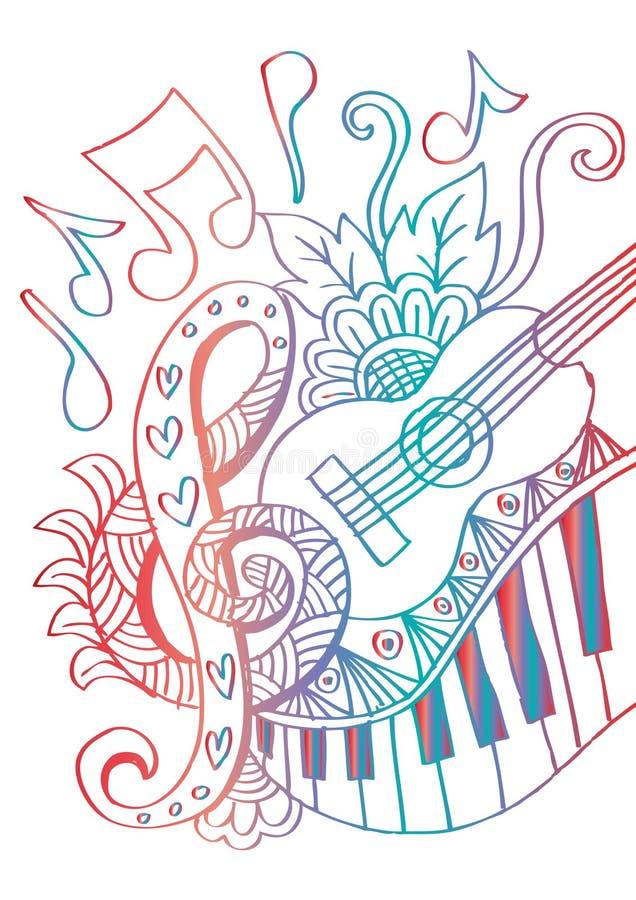 Fundo da música com guitarra ilustração royalty free