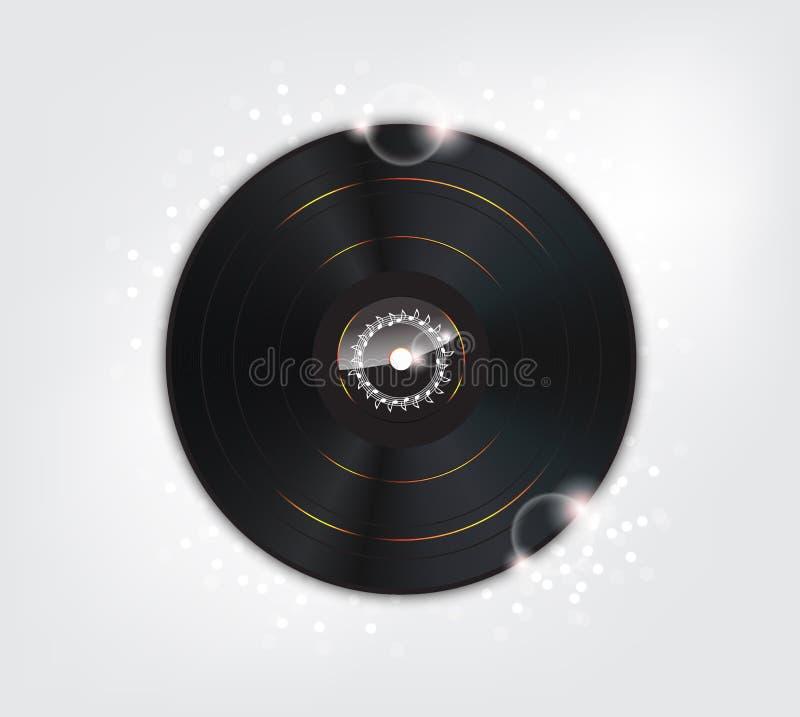 Fundo da música com a placa do vinil do fulgor ilustração royalty free